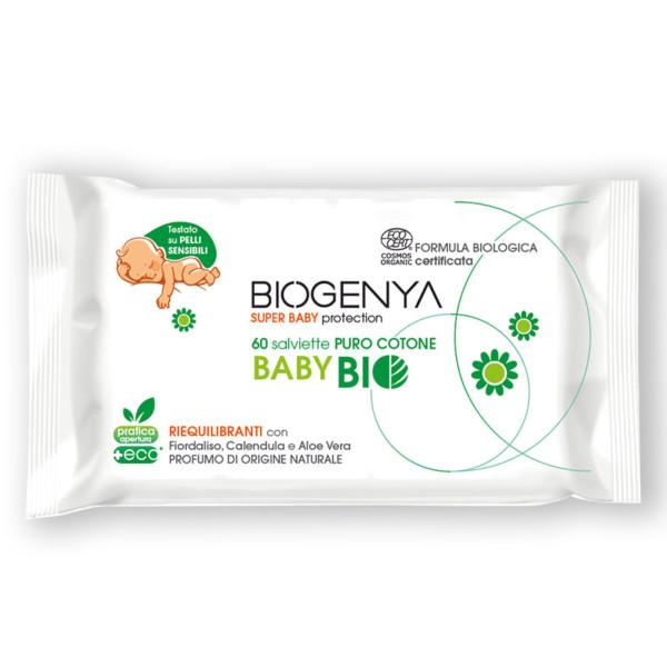 Biogenya - Salviette Detergenti Baby Bio. Formulazione riequilibrante con Estratti di Fiordaliso, Calendula e Aloe Vera ottenuti da coltivazioni biologiche