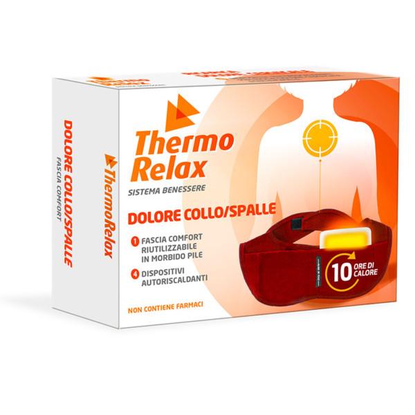 ThermoRelax - Facia Collo/Spalle con 4 Dispositivi Autoriscaldanti Sostituibili. Sollievo contro i dolori alle spalle, mantiene il calore fino a 10 ore.