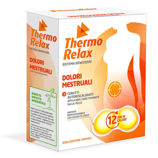 ThermoRelax - Adesivo autoriscaldante per dolori mestruali. 3 bustine autoriscaldanti e adesive per 3 trattamenti. Mantiene il calore fino a 12 ore.